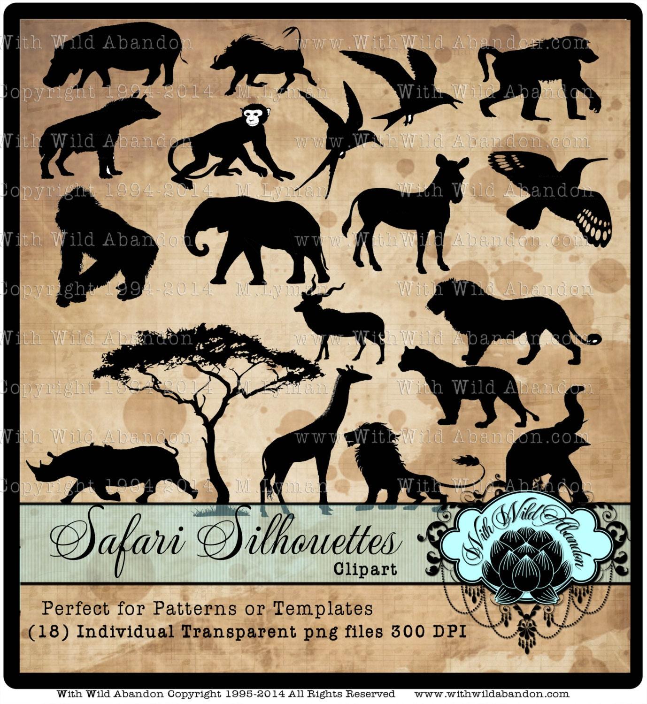 Safari Silhouette Clipart Templates Safari Animal Patterns