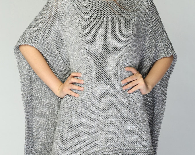 Hand knitted Poncho/ capelet grey eco cotton poncho