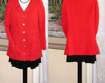 Vintage Jacket - Cardigan - Jean Louis and Dalton - Red Wool - Lined - Brass Buttons - Pockets