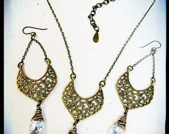 Alhambra Set- Antique Brass and Aurora Borealis Earrings and Necklace