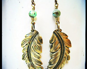 African Turquoise and Golden Feather Earrings