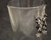 Beaded Dangle Earrings - Celestial Stars Black Silver Neutral Classic by randomcreative on Etsy