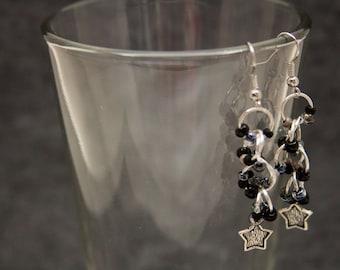 Beaded Dangle Earrings - Celestial Stars Black Silver Neutral Classic by randomcreative on Etsy