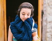 Navy Blue Extra Chunky Cowl // Warm Thick Dark Blue Infinity Scarf // Collared Ribbed Circle Cowl