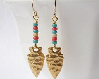 Arrowhead Beaded Earrings, Bohemian Style Jewelry