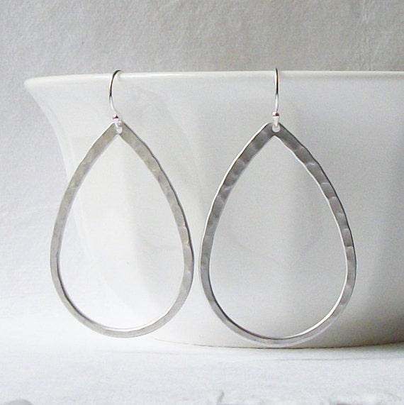Summer Sale! Silver Hammered Hoop Earrings, Hoop Earrings