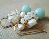 Amazonite, Moonstone, & Pearl Earrings - 14kt Goldfilled Gemstone Clusters, White and Blue