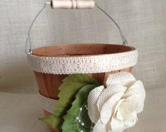 Rustic Flower Girl Basket/ Lace and Burlap Wedding Decor