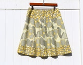 Mod Mustard Yellow and Gray A-line semi gathered skirt, YEllOw aNd gRaY sKiRt, Amy Butler, Gray Dot Skirt, Women's Hip Sizes 30-56 inches