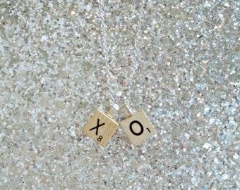 Initial Mini Scrabble Pendant - Initial Jewelry - Monogram Necklace - Mini Travel Letter - Travel Scrabble Game Tile Pendant