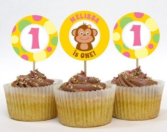 Personalized Monkey Party Cupcake Toppers – 2 Inch Circles – DIY Printable – Monkey Girl (Digital File)