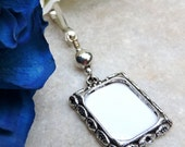 Gift for him. Memorial photo charm in silver tones. Wedding memory photo charm. In loving memory. Gift for the groom.