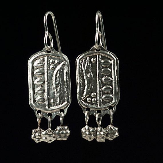 silver cartouche pendant earrings