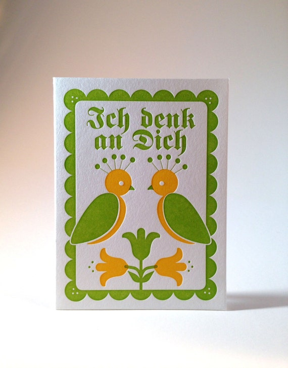 Letterpress German Thinking of You Greeting Card- Green and Yellow