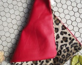 RESERVED FOR RATFINK (Susan) Arsenal Foldable Zipper Clutch Purse Pouch in Cheetah Velvet and Lipstick Red Leather