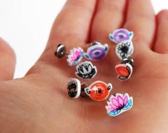 Flowers earring studs, romantic & minimal