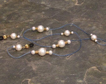 """Pearl on Blue Cord Eyeglass Chain Lanyard, Glasses Leash, Matte Gold and Glass Pearls 32"""" - G01"""