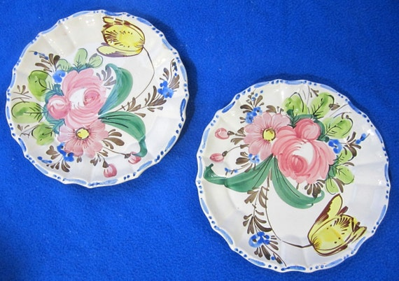 Antique majolica plate m b d italy art pottery flower floral for Italy b b