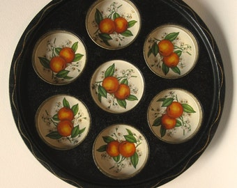 Vintage Tin Serving Tray Oranges and Blossoms Cup Holders Round 60's Serving Tray