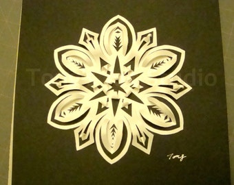 3D White Snowflake paper cutting on Black Background, Box frame,snowflake paper cut, 3D art, snowflake