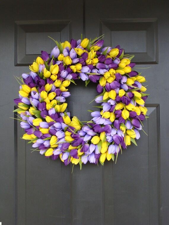Tulips Spring Wreath- Spring Decor-Spring Tulips Wreath, Custom Colors and Sizes, Door Wreath, Purple Wreath- The ORIGINAL Tulip Wreath