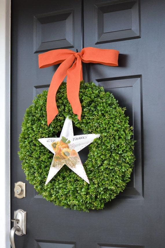 GIVE THANKS Thanksgiving Wreath- Boxwood Bow Fall Wreath- Give Thanks Fall Wreaths- Fall Decor- Hostess Gift - Thanksgiving Decor