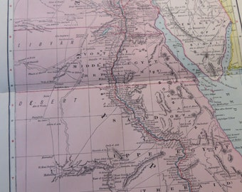 1903 Map Egypt - Vintage Antique Map Great for Framing 100 Years Old