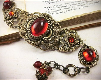 Medieval Bracelet, Ruby, Red, Medieval Clover, Renaissance Jewelry, Antiqued Filigree Jewelry, Tudor Jewelry, Avalon