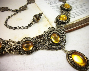 Topaz Renaissance Necklace, Medieval Jewelry, Borgias, Victorian Bridal Necklace, Medieval Costume, SCA Garb, Tudor, Lucia
