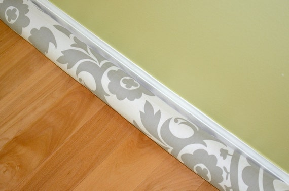 Door draft stopper cover suzani storm grey white twill for Door wind stopper