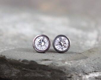 5mm Cubic Zirconia Dot Earrings - Black Sterling Silver - Stud Earrings - Made in Canada - Men's & Ladies Earrings - Dark Oxidized Finish