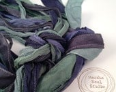 Silk Ribbons Stormy Waters Color Palette Silky and or Fairy Ribbons Craft Supplies Jewelry Supplies Wrap Bracelet Ribbons