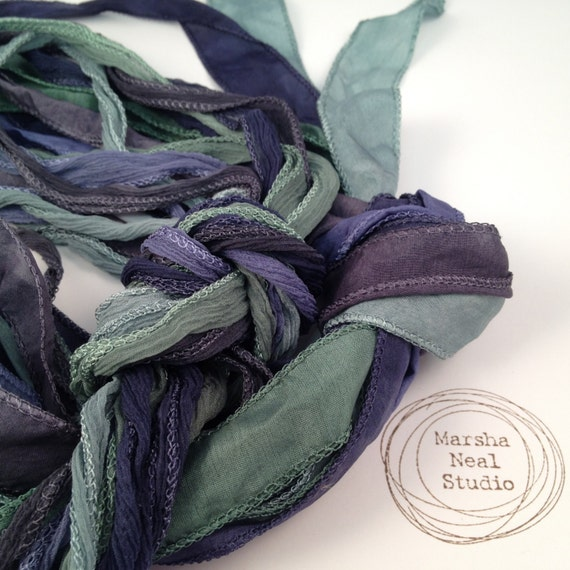 Silk Ribbon - Hand Painted Silk - Silky Ribbon - Fairy Ribbon - Jewelry Supplies - Wrap Bracelet - Craft Supplies - Stormy Waters Palette