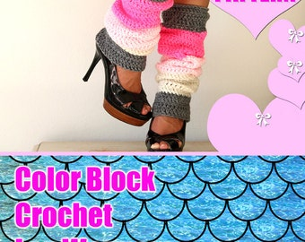 Color Block Leg Warmers Pattern - Crochet Pattern - Easy