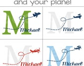 Custom Name Monogram with Airplane YOU CHOOSE colors and plane vinyl wall decal sticker nursery decor