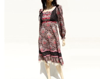 Teen Boho Dress 70s Floral Dress Girls Floral Dress Prairie Dress 70s Festival Dress Floral Hippie Dress Pink Floral Dress xxs