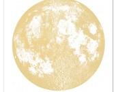 Bright Gold Moon Print, Square 22x22 large screenprint, metallic ink on white sturdy stellar cotton paper, luna lunar wall art, space, stars
