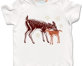 Organic Baby Fawn Deer Shirt, gold glitter stars, Infant child gift, long and short sleeve natural, cute animal winter tundra print