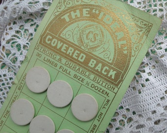 """Antique White Linen Laundry Buttons on Original Card - The """"Ideal"""" Covered Back - Made In England - cotton underwear washing buttons"""