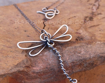 Dragonfly Necklace. Oxidized Sterling Silver. Wire Wrapped.  Wire Jewelry