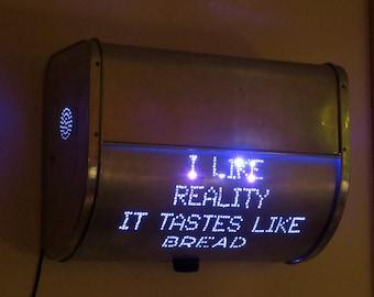 I Like Reality...breadbox lamp / LED wall art