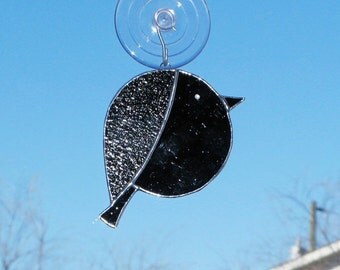 Chibi Raven Stained Glass Suncatcher  -  FREE Shipping in the USA