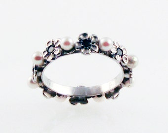 Black Diamond & Pearl Ring - in recycled silver