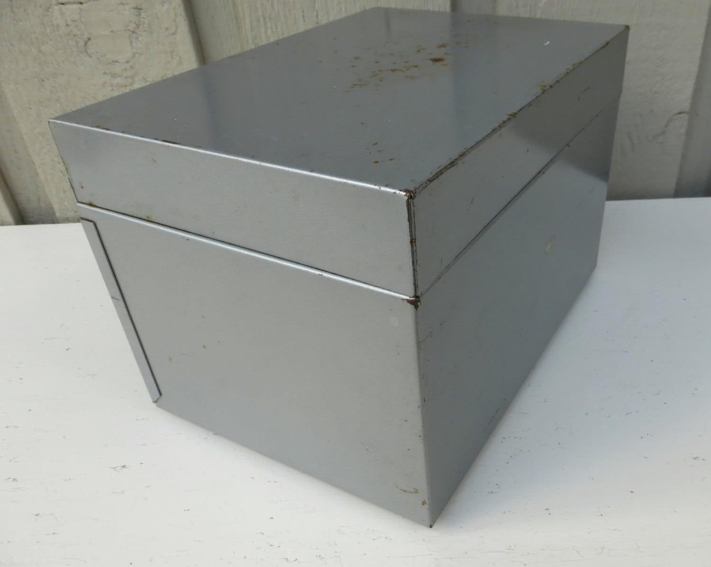 Hinged Lid Metal Box Metal Storage Box Industrial Gray Heavy