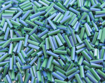 7x2mm Opaque Blue and Green Striped Glass Bugle Beads 10 Grams (C567)