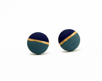 Geomeric circle stud earrings - grey blue, dark blue, gold - minimalist, modern hand painted wooden jewelry