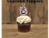 Rock Star Party - Set of 12 Swirl Guitar Cupcake Toppers by The Birthday House