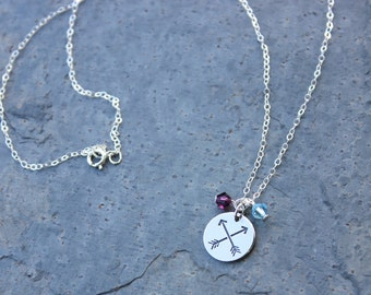 Friends Necklace - crossed arrows - symbol of friendship, 2 birthstone crystals, sterling silver chain- BFF - free shipping in USA