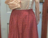 Fabulous Western Style Skirt Blouse and Quilted Jacket Vintage 80's Hand Made
