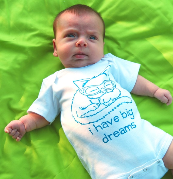 I have big dreams- Sleeping Kitty One Piece Bodysuit- Pick Your Size